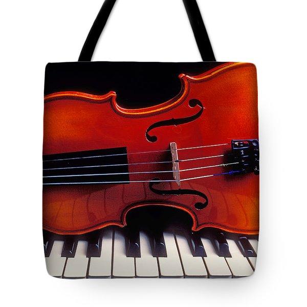 Violin On Piano Keys Tote Bag by Garry Gay