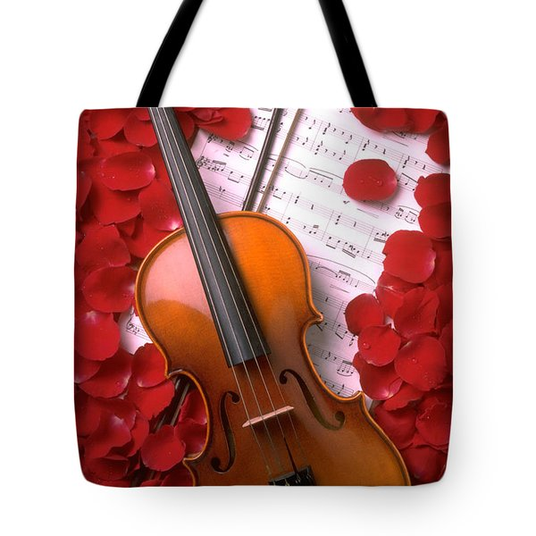 Violin On Sheet Music With Rose Petals Tote Bag