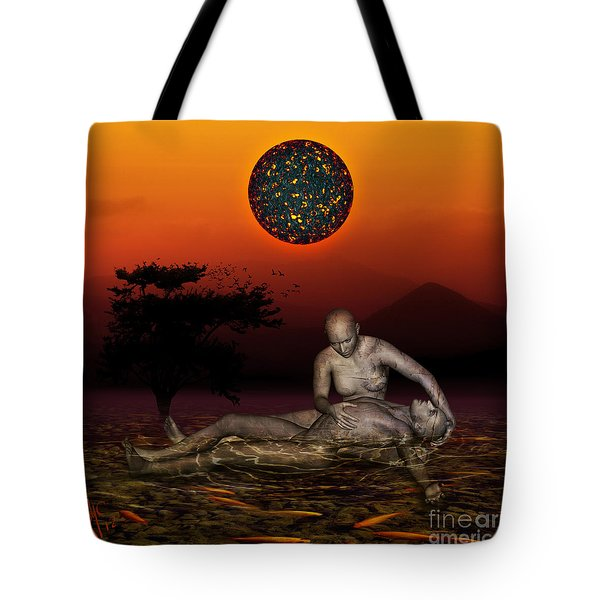 Tote Bag featuring the digital art Volcanos Pieta by Rosa Cobos