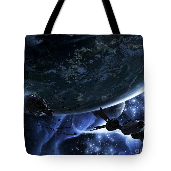 Vulture Ships Hunt Down And Dismantle Tote Bag by Brian Christensen