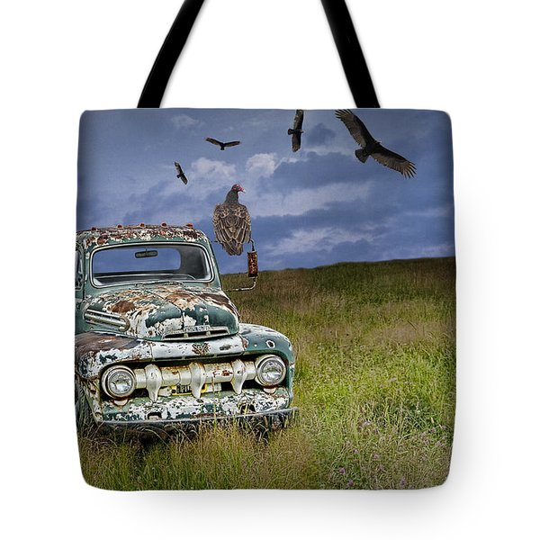 Vultures And The Abandoned Truck Tote Bag
