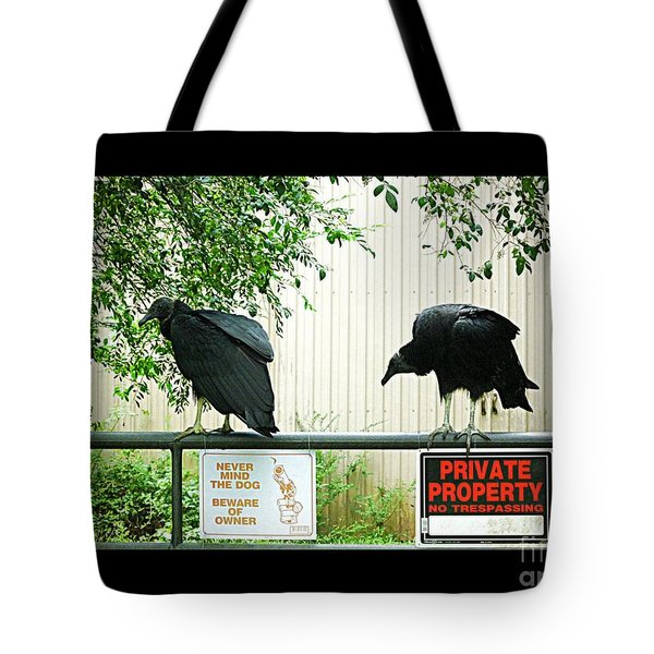 Tote Bag featuring the photograph Vultures Guarding Property by Renee Trenholm