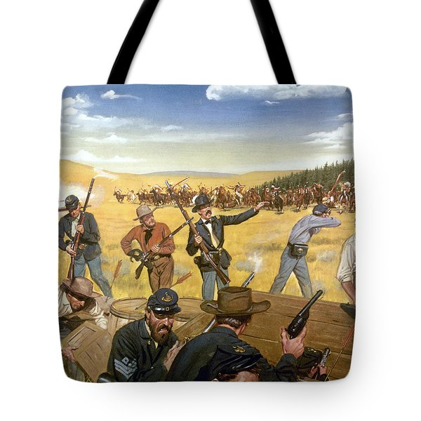 Wagon Box Fight, 1867 Tote Bag by Granger
