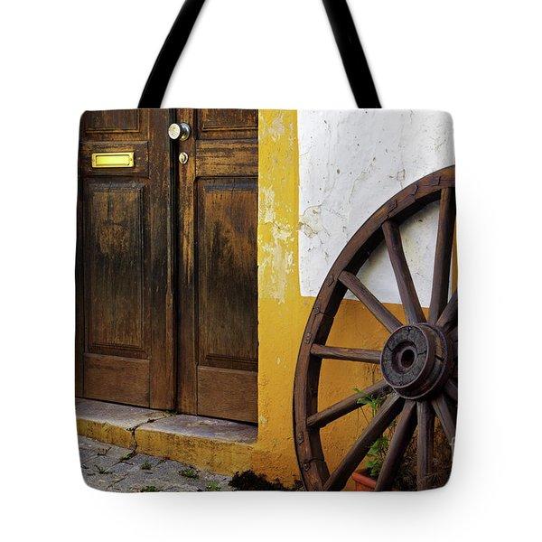 Wagon Wheel Tote Bag by Carlos Caetano