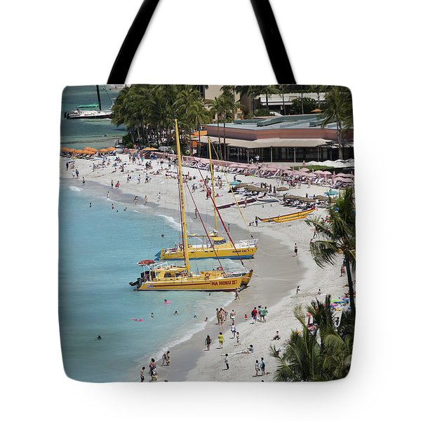 Waikiki Beach And Catamarans Tote Bag by Peter French