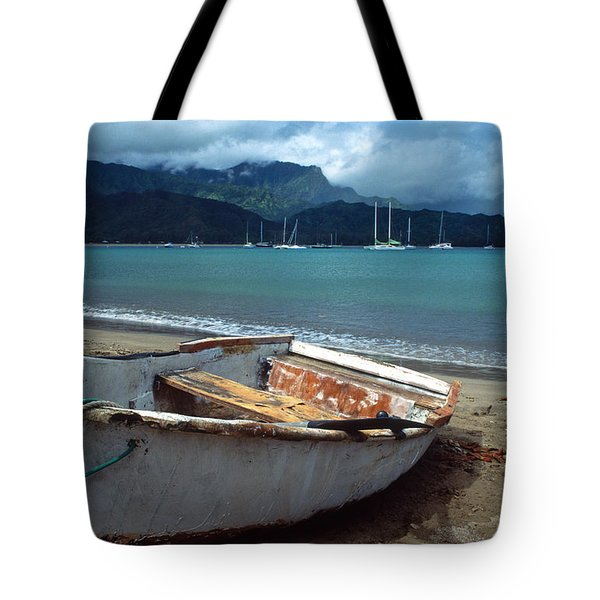 Waiting To Row In Hanalei Bay Tote Bag by Kathy Yates