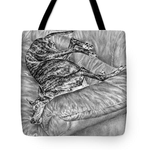 Wake Me For Dinner - Greyhound Dog Art Print Tote Bag