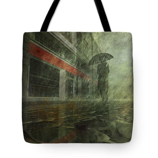 Walking In The Rain Tote Bag by Carol and Mike Werner