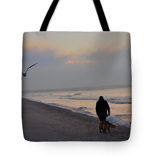 Walking On The Beach - Cape May Tote Bag by Bill Cannon
