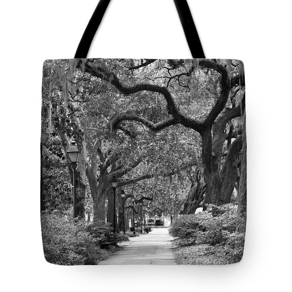 Walking Through The Park In Black And White Tote Bag by Suzanne Gaff