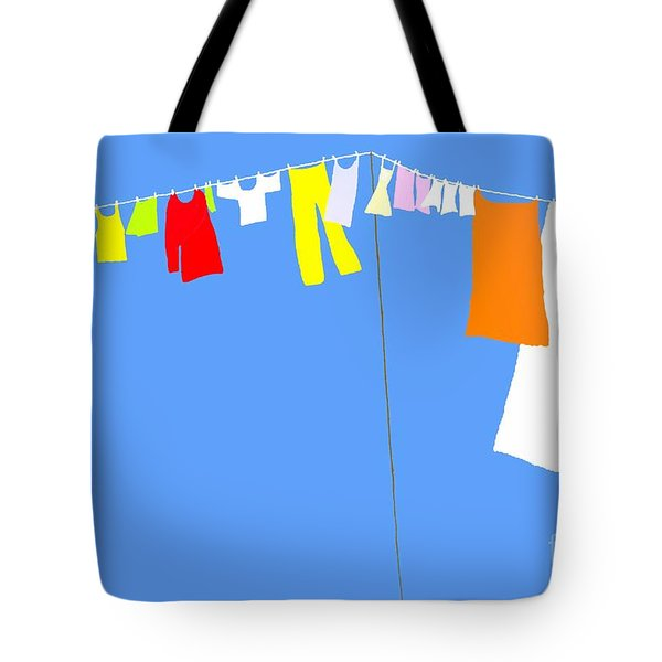 Tote Bag featuring the digital art Washing Line Simplified Edition by Barbara Moignard