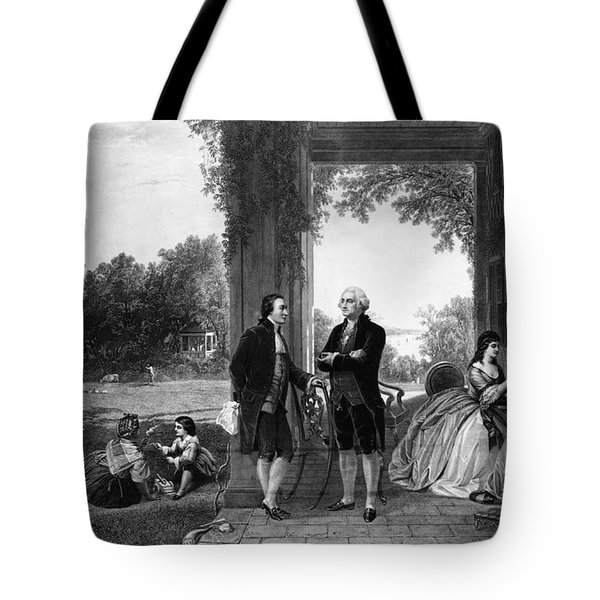 Washington And Lafayette, Mount Vernon Tote Bag by Library of Congress