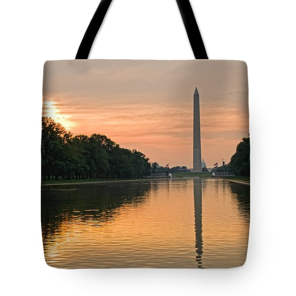 Tote Bag featuring the photograph Washington Monument At Dawn by Jim Moore
