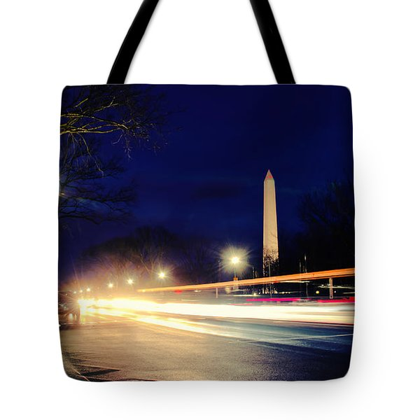 Tote Bag featuring the photograph Washington Monument On A Rainy Rush Hour by Jim Moore