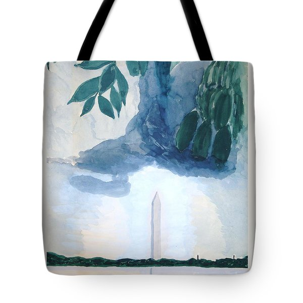 Tote Bag featuring the painting Washington Monument by Rod Ismay