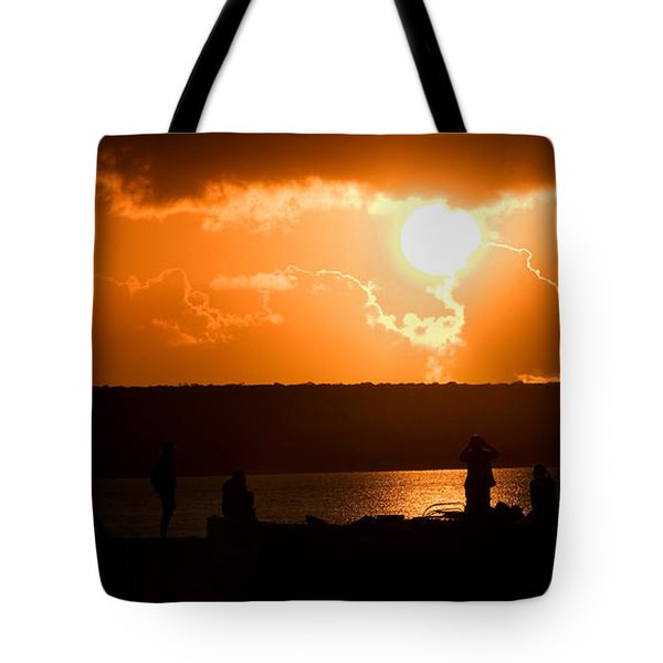 Tote Bag featuring the photograph Watching Sunset by Yew Kwang