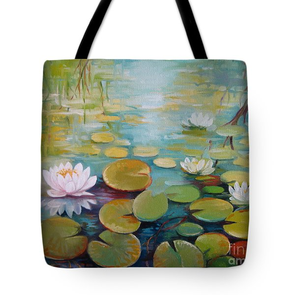 Water Lilies On The Pond Tote Bag