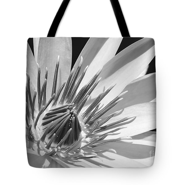 Water Lily Macro In Black And White Tote Bag by Sabrina L Ryan