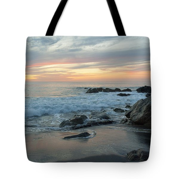 Water Washing Up On The Beach Tote Bag by Keith Levit