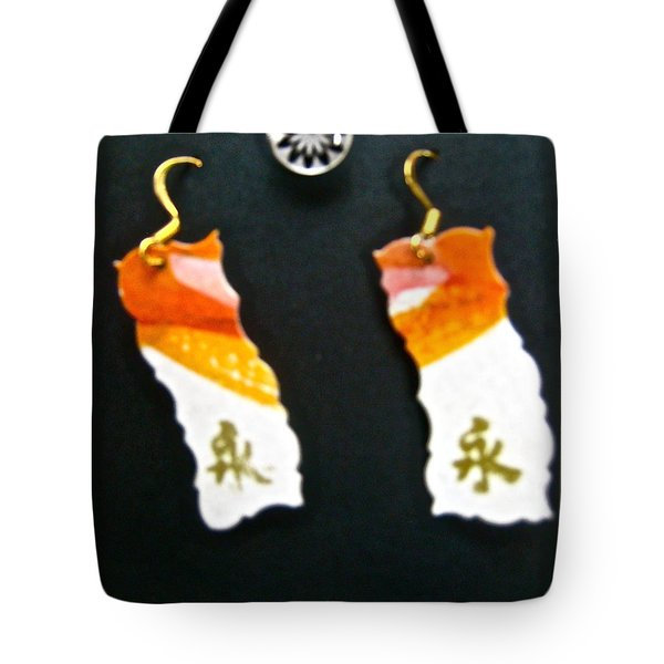 Watercolor Earrings Eternity Orange White Gold Tote Bag by Beverley Harper Tinsley