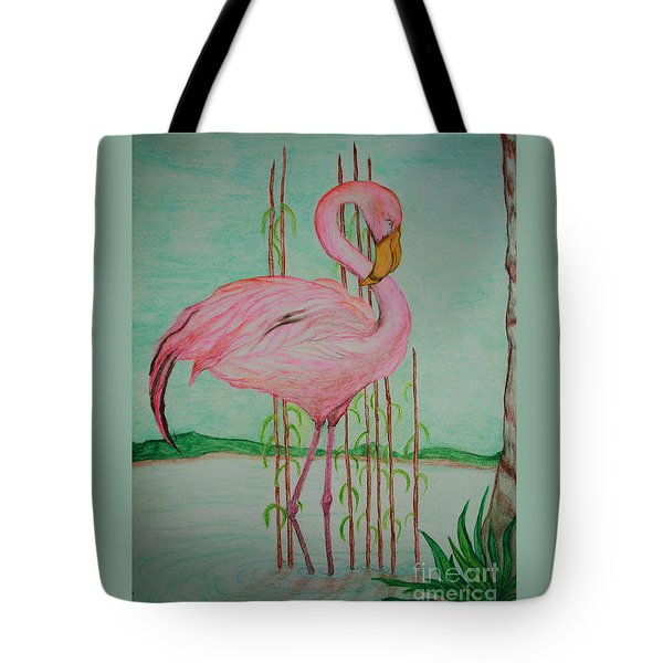 Watercolor Pencil Flamingo Tote Bag