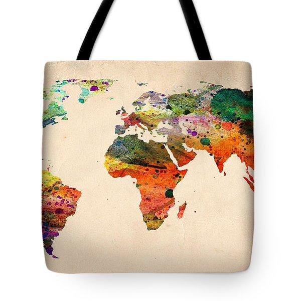 Watercolor World Map  Tote Bag by Mark Ashkenazi