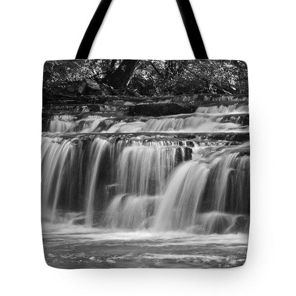 Waterfall At Corbett's Glen In Bw Tote Bag