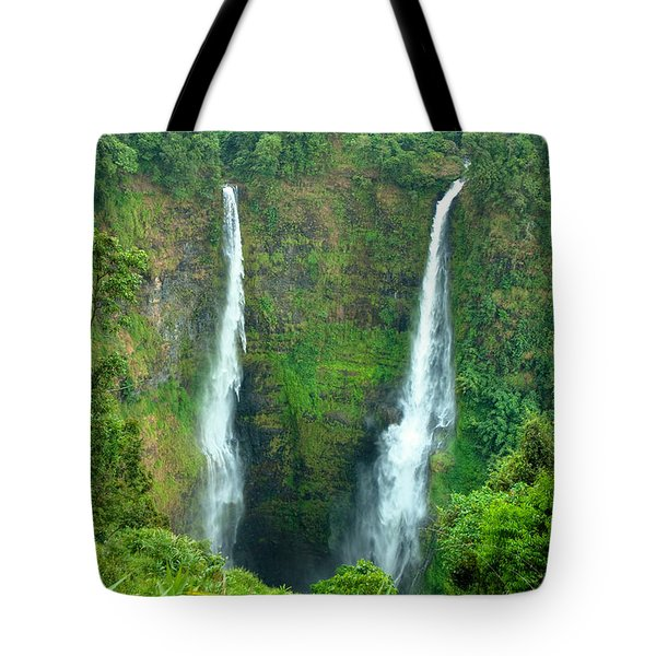 Tote Bag featuring the photograph waterfall in Laos by Luciano Mortula