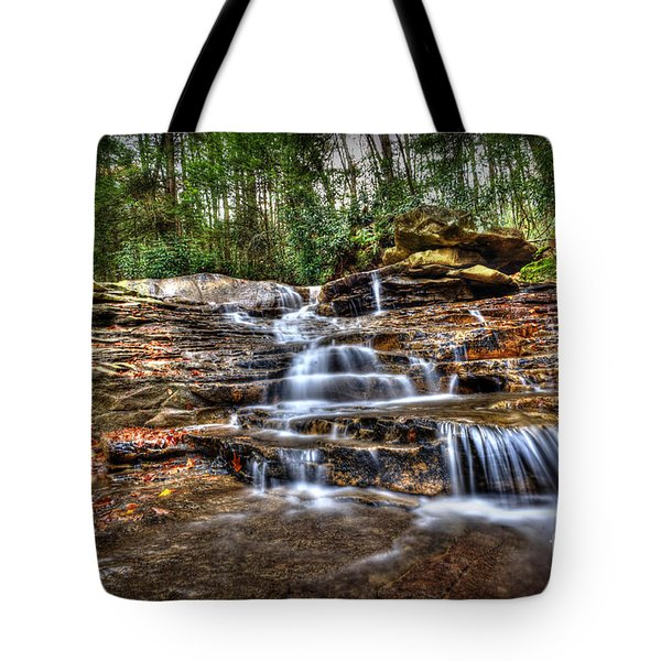 Waterfall On Small Creek Going Into The Big Sandy River Tote Bag by Dan Friend