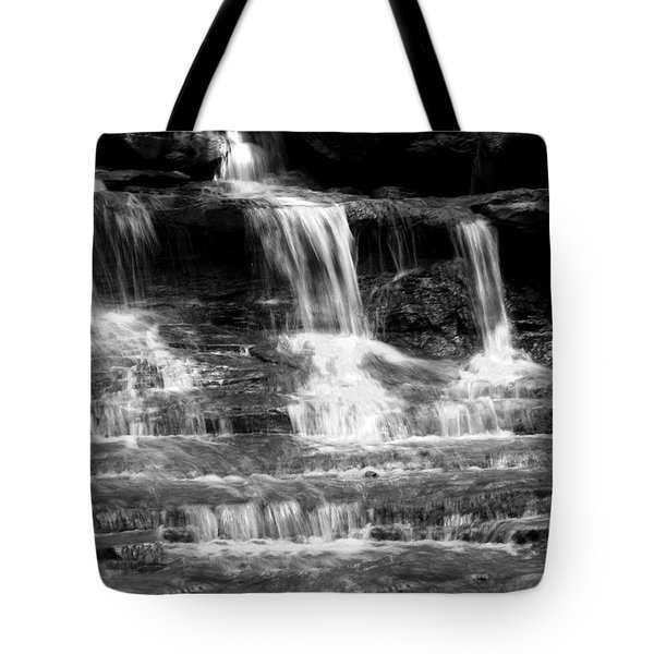 Waterfall Trio At Mcconnells Mill State Park In Black And White Tote Bag