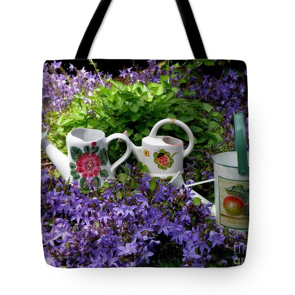 Watering Cans And Campanula Tote Bag by Tanya  Searcy
