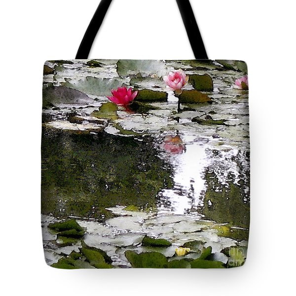 Tote Bag featuring the digital art Waterlilies by Victoria Harrington