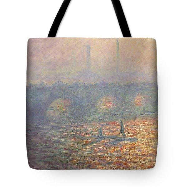 Waterloo Bridge Tote Bag by Claude Monet