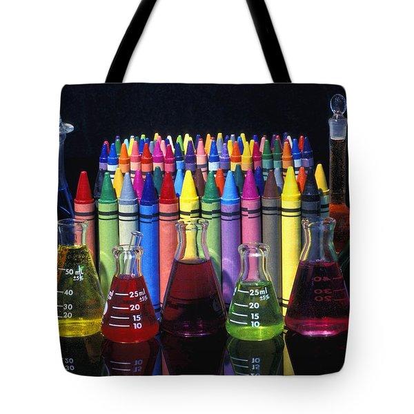 Wax Crayons And Measuring Flasks Tote Bag by David Chapman