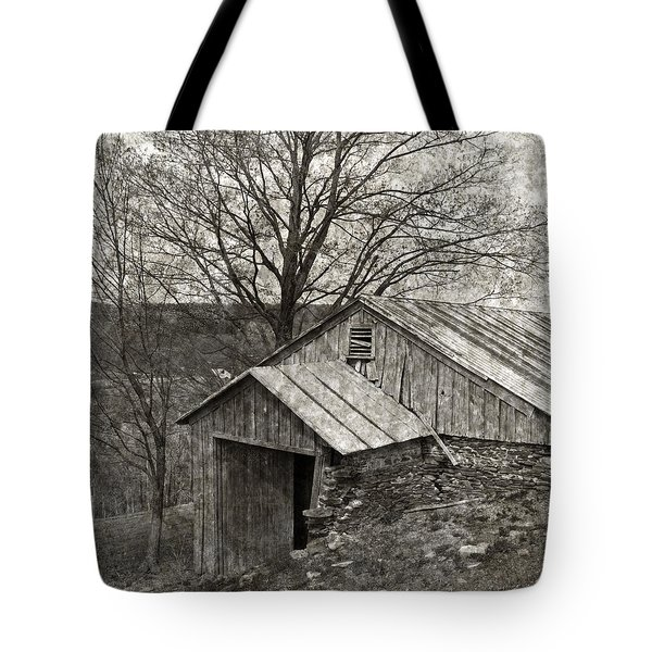 Weathered Hillside Barn Tote Bag by John Stephens