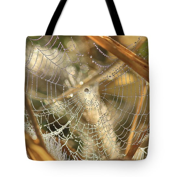 Web Of Jewels Tote Bag by Penny Meyers