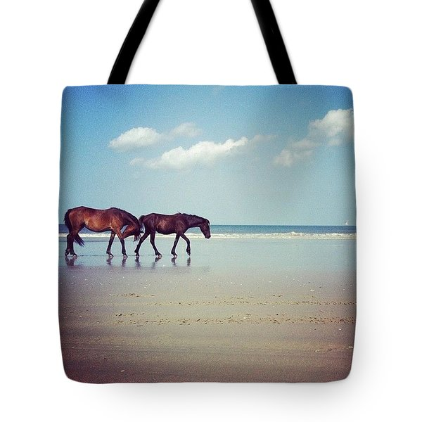 Well, This Just Happened. #wild #horses Tote Bag