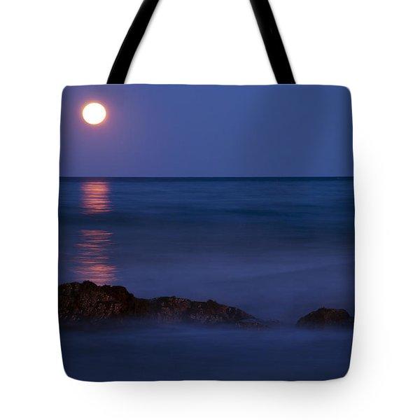 Wells Beach Maine Moonrise Tote Bag
