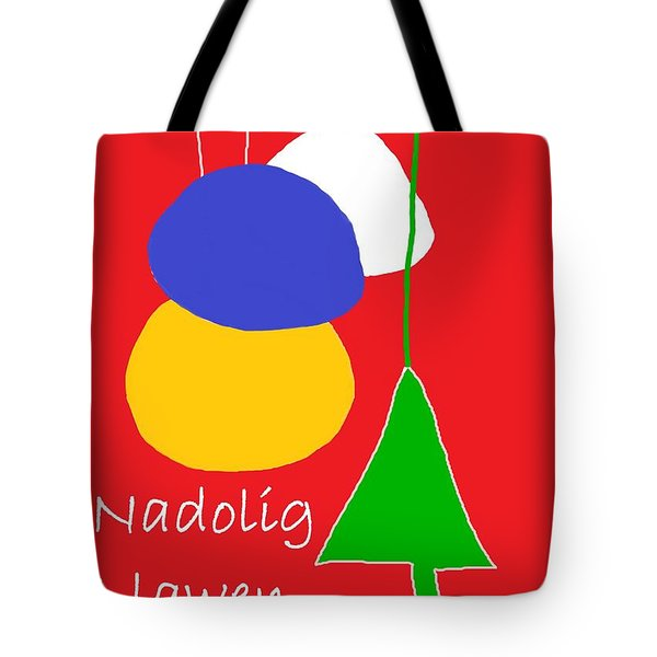 Tote Bag featuring the digital art Welsh Christmas Card by Barbara Moignard