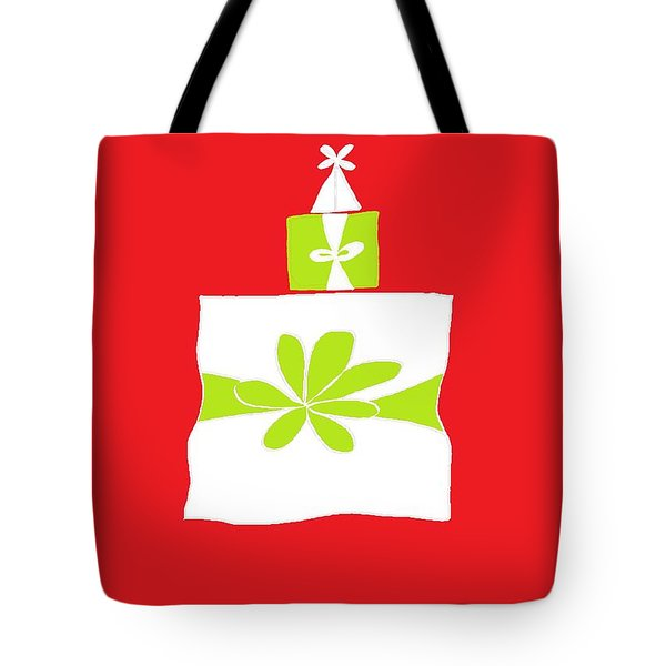 Tote Bag featuring the digital art Welsh Merry Christmas Red by Barbara Moignard