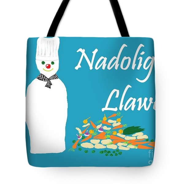 Tote Bag featuring the digital art Welsh Snowman Chef by Barbara Moignard