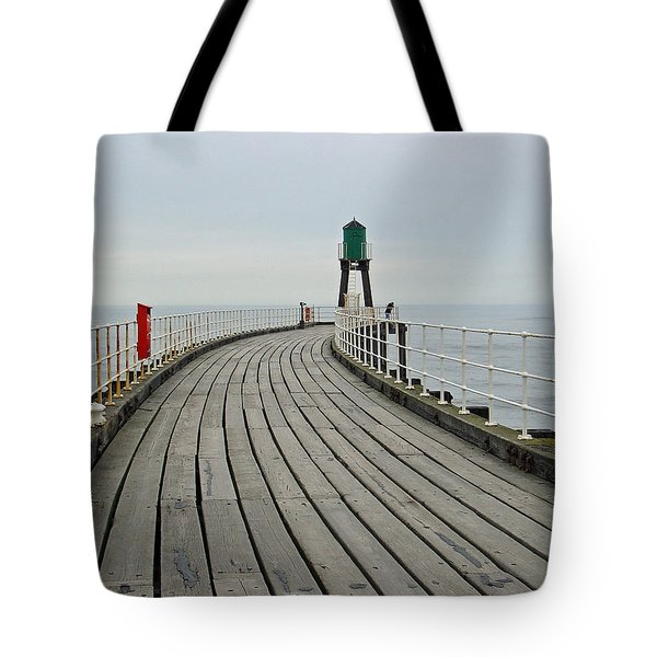 West Pier And Beacon Tote Bag by Rod Johnson