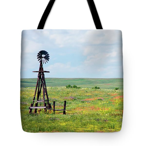 Western Kansas Wooden Windmill  Tote Bag