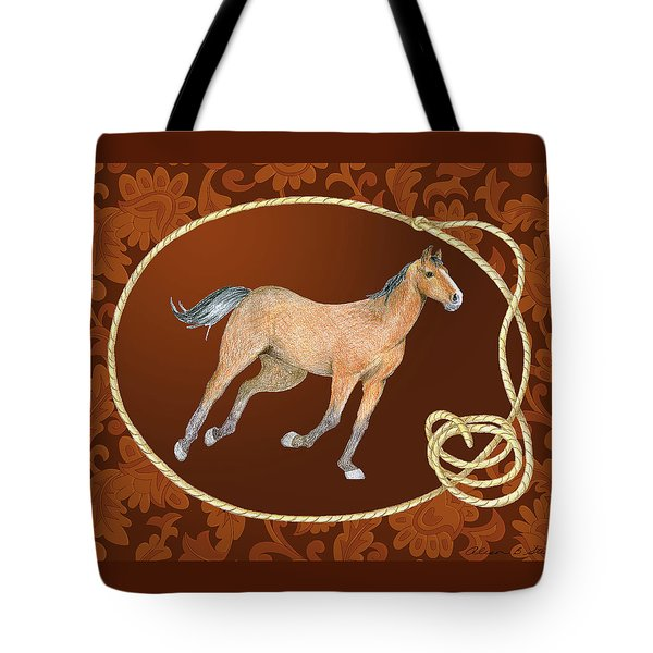 Western Roundup Running Horse Tote Bag