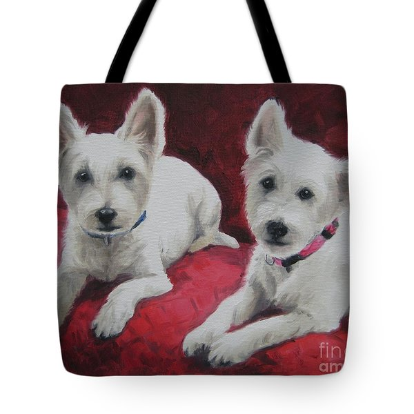 Tote Bag featuring the painting Westies by Jindra Noewi