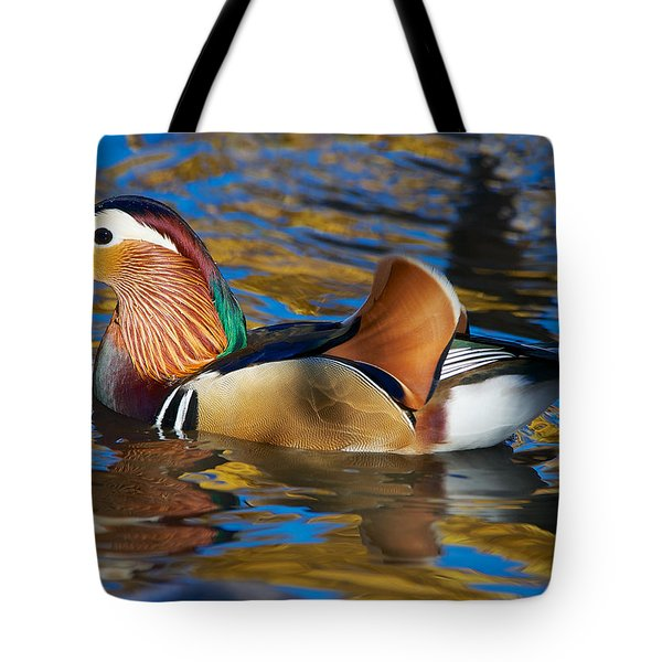 Wet Mandarin Duck Tote Bag by Stephen  Johnson