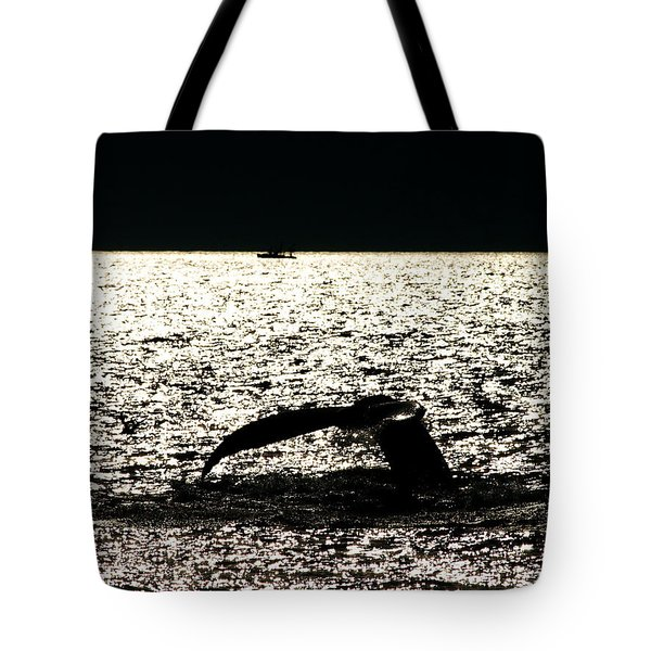 Whale In Sunset Tote Bag by Paul Ge