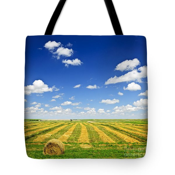 Wheat Farm Field At Harvest Tote Bag