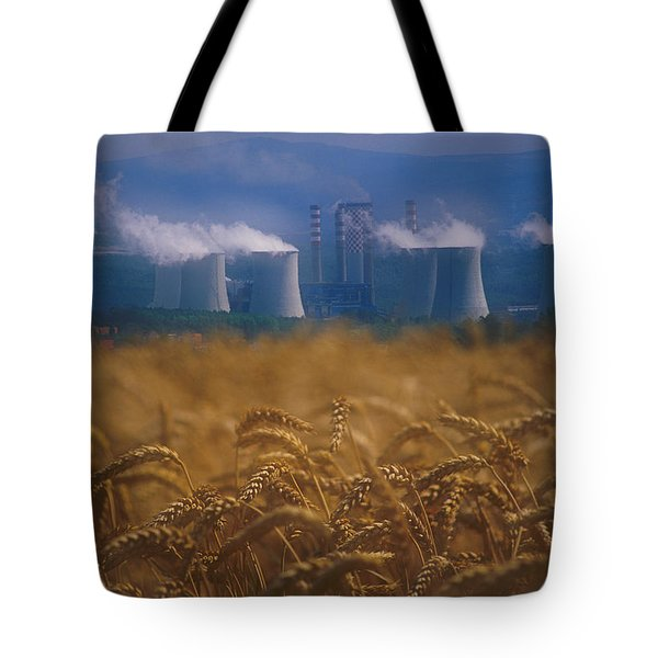 Wheat Fields And Coal Burning Power Tote Bag by David Nunuk