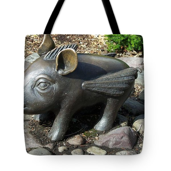Tote Bag featuring the photograph When Pigs Fly by Chalet Roome-Rigdon